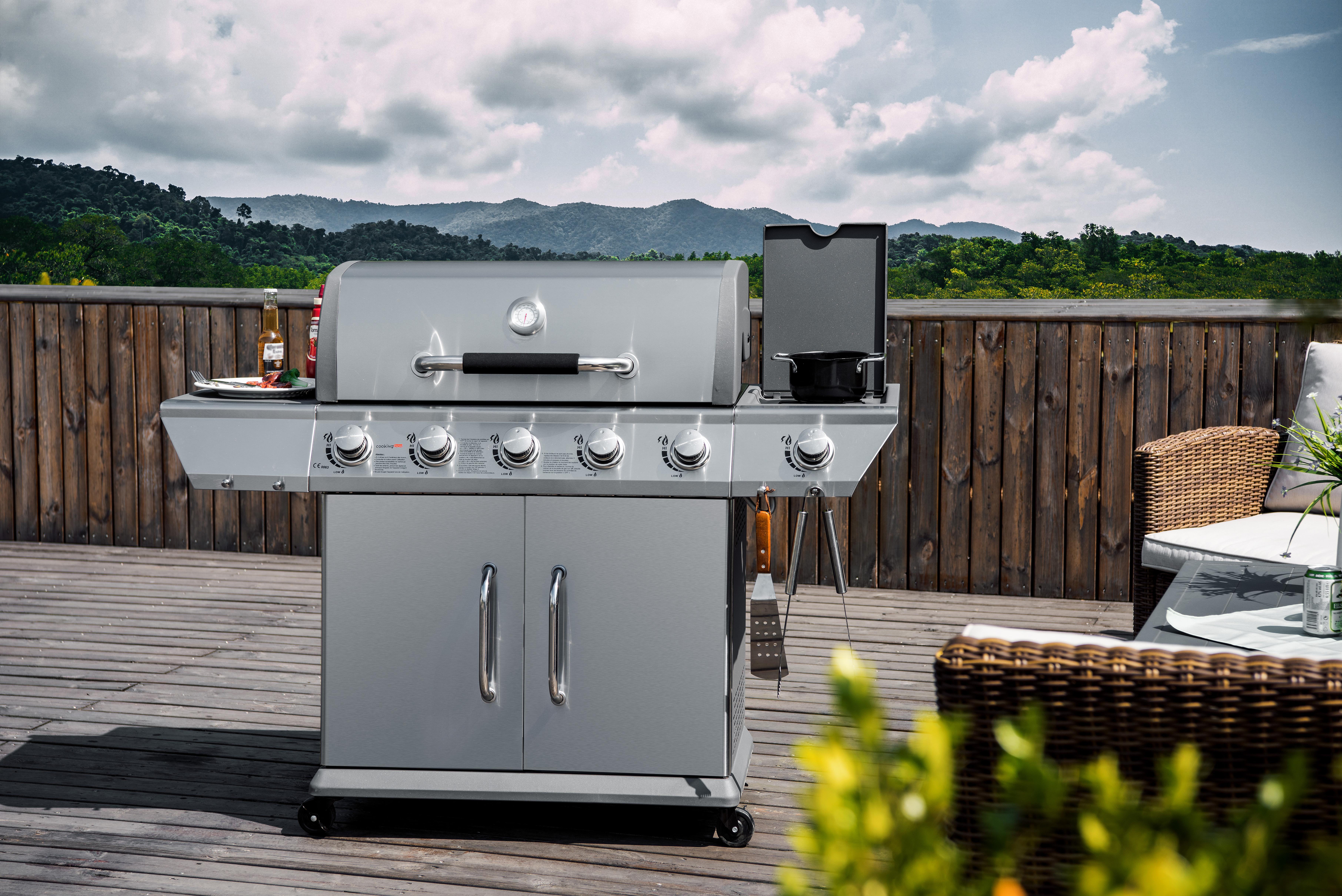 Nettoyer La Plancha En Fonte Émaillée cooking box barbecue à gaz duke - 5 feux + side - achat