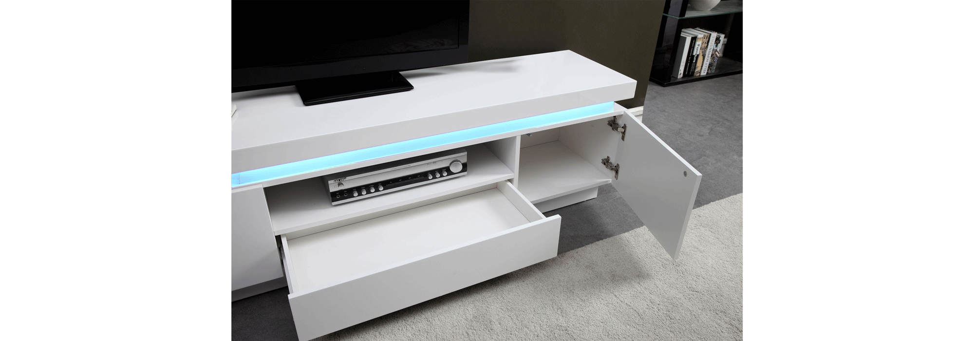 Meuble Blanc Laqué Brillant flash meuble tv avec led contemporain blanc laqué brillant
