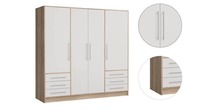 Armoire de chambre style contemporain blanc et chêne