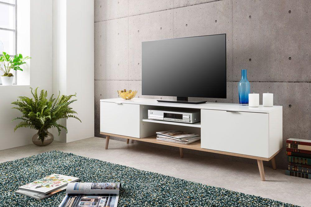 GÖTEBORG Meuble TV scandinave blanc - L 160 cm