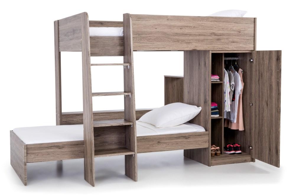 Lits superposés modulables avec rangement - Décor Chêne cendré - Sommiers inclus - 90 x 190 cm ...