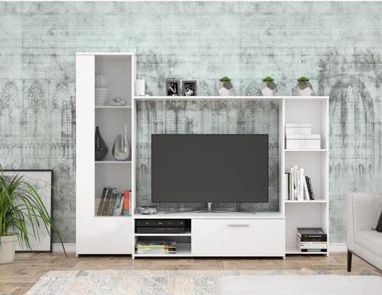 Meuble Tv Blanc Mat L 220 4 X P41 3 X H177 5 Cm Pilvi Achat Vente Meuble Tv Mtv Paroi Blanc Mat Pilvi Cdiscount