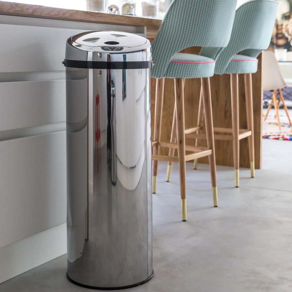 Poubelle de cuisine automatique 42L CAN en acier INOX forme canette avec seau