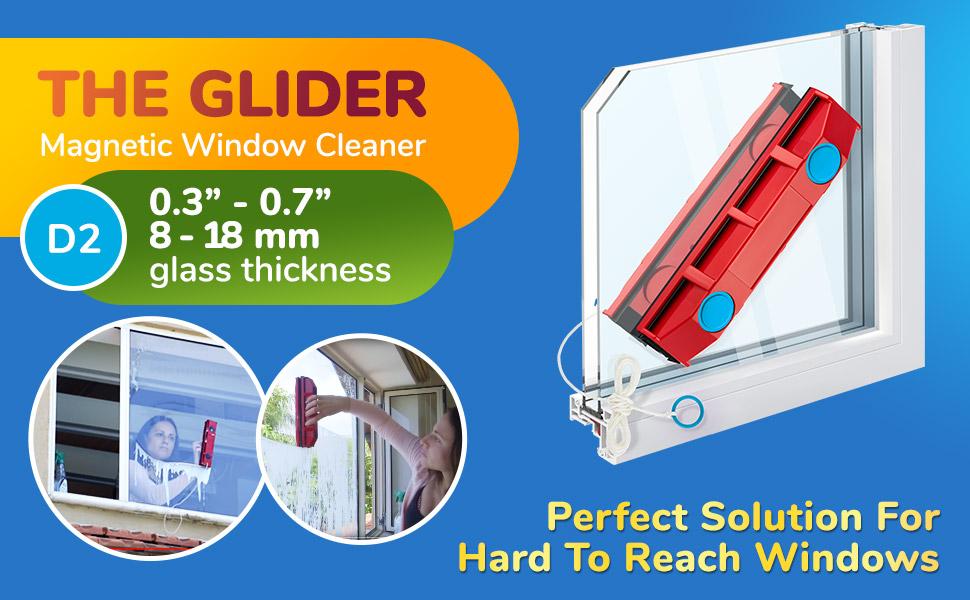 Simple ou Double Vitrage 2-28mm Force magn/étique r/églable Tyroler Bright Tools Lave Vitre Magn/étique The Glider D-3 AFC Double nettoyant int/érieur et ext/érieur des vitres